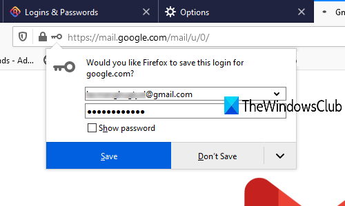 stop showing save password message panel in firefox