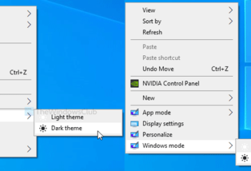 How to toggle Light or Dark mode in Windows 10 from context menu
