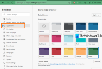 enable and use accent color in microsoft edge