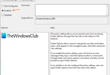enable or disable folder options in windows 10