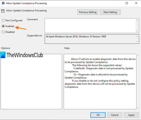use enabled to allow update compliance processing