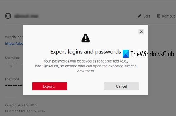 Export Passwords from Firefox browser