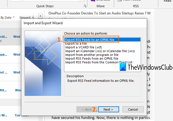 use export rss feeds to an opml file in import and export wizard