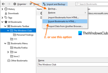 backup or export bookmarks from firefox