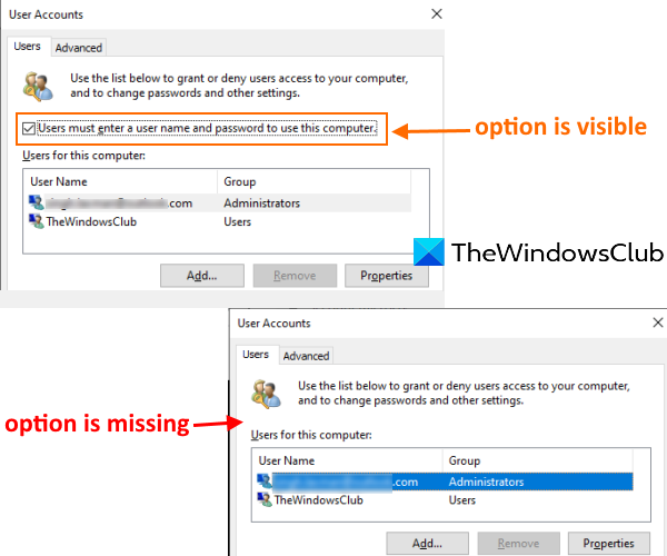 users must enter a user name and password to use this computer is missing in windows 10