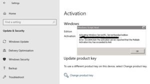 0xC004C020 Activation Server reported Multiple Activation Key has exceeded its limit