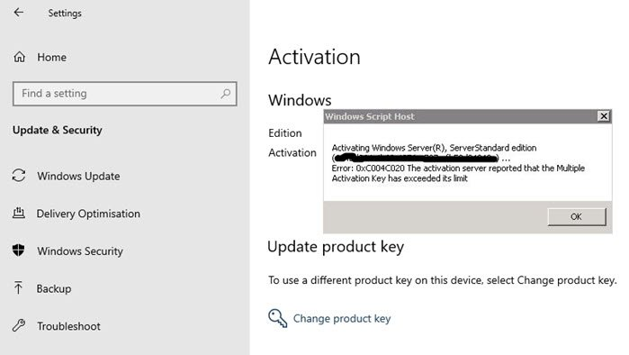 0xC004C020 Activation Server reported Multiple Activation Key