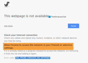 Allow Chrome to access the network in your firewall or antivirus settings
