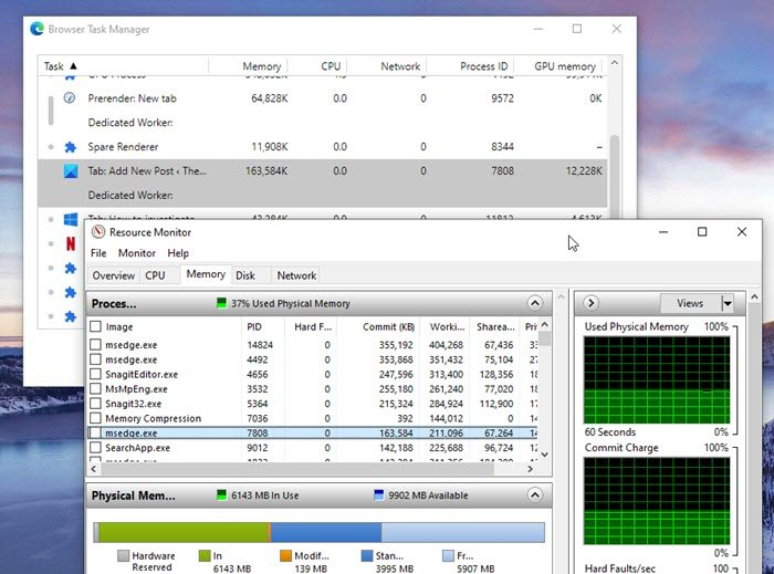 Browser Task Manager Commit Memory