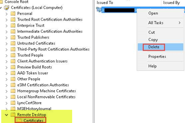 Check the status of the RDP self-signed certificate