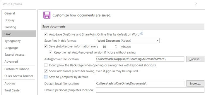Customize Save As format in Office Word