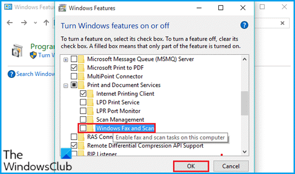 Disable and Re-enable Windows Fax and Scan