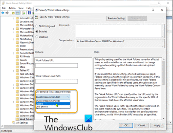 Disable on-demand file access via Group Policy setting