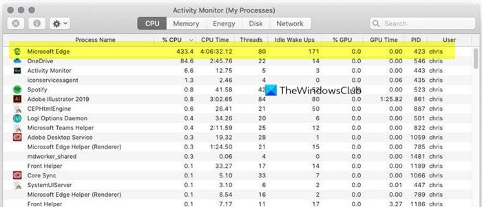Edge high CPU and memory usage on macOS