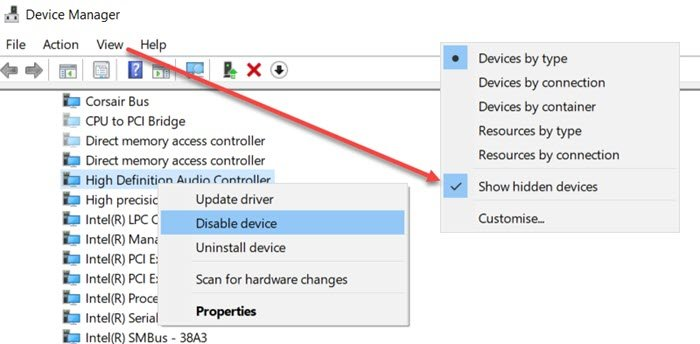 Enable Disable High Definition Audio Controller