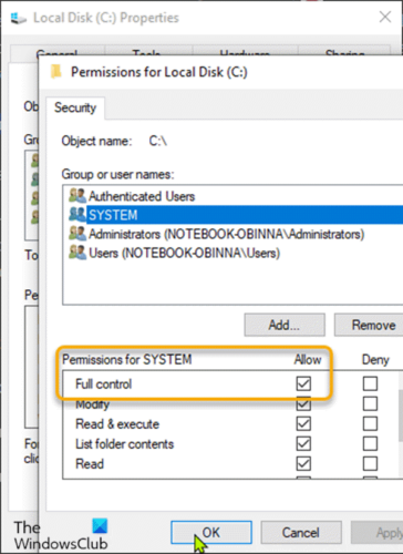 Grant Full Control permissions to the SYSTEM account-1