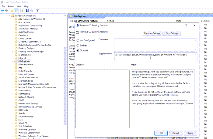 Group Policy Disc Burn Disabled