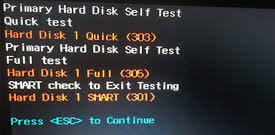Hard Disk 1 Quick 303 and Full 305