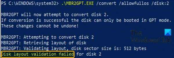 MBR2GPT disk layout validation failed