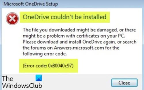 OneDrive couldn't be installed, Error Code 0x80040c97