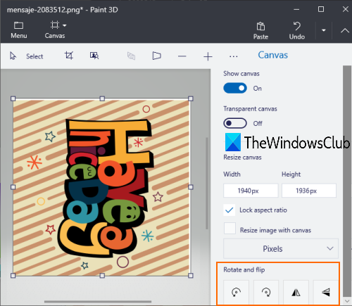 rotate an image using Paint 3D
