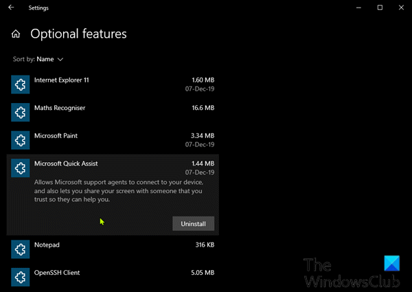 Uninstall and Reinstall Quick Assist via Optional Features