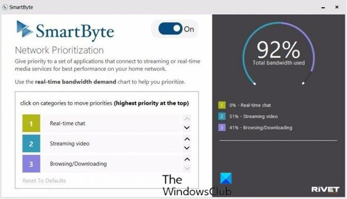 SmartByte Network Service causes slow Internet speed