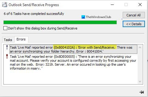 Task reported error 0x8004102A