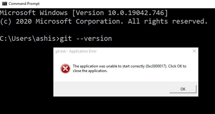 The application was unable to start correctly (0xc0000017)