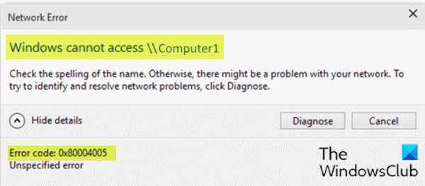 Unable to access Network drive error 0x80004005