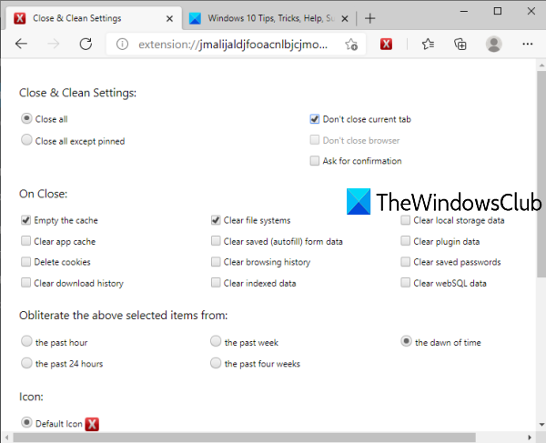 adjust close and clean edge browser add-on settings