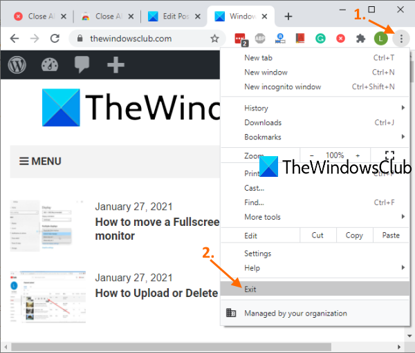 Close all opened browser windows at once in Chrome, Edge, or Firefox