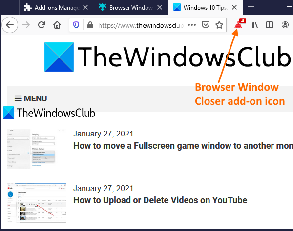 close firefox windows using Browser Window Closer add-on