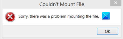Couldn't Mount file, Sorry, there was a problem mounting the file