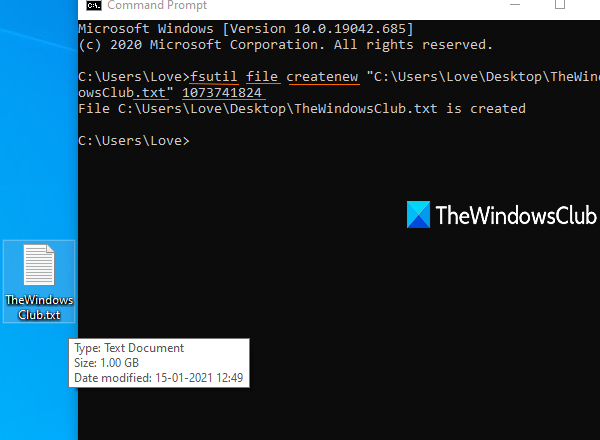 create test file of any size using command prompt in windows 10