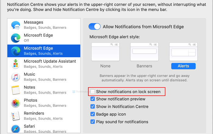 How to disable Microsoft Edge notifications on lock screen on macOS