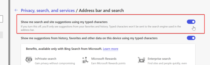 disable or enable address suggestions in microsoft edge toggle