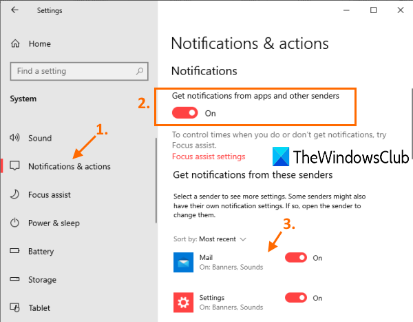 enable get notifications from apps and select apps to receive notifications