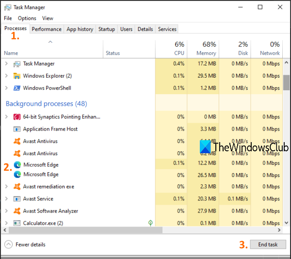 end running processes of microsoft edge using task manager