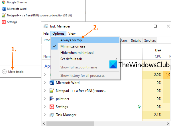 keep task manager always on top in windows 10