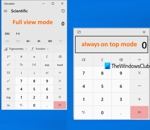 keep windows 10 calculator app always on top