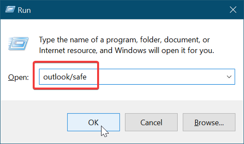 open outlook in safe mode to Repair your Microsoft Outlook installation