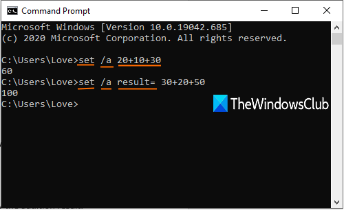 Perform Arithmetic operations in Command Prompt