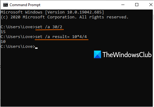 perform basic math operations using command prompt in windows 10