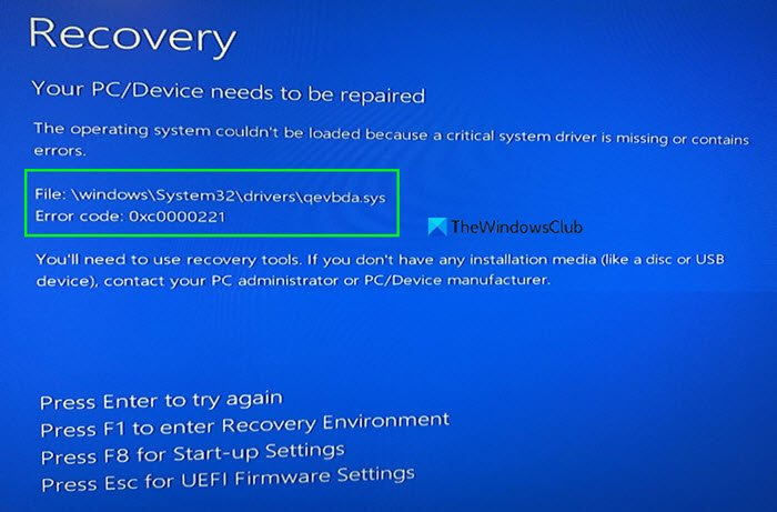 qevbda.sys Blue Screen