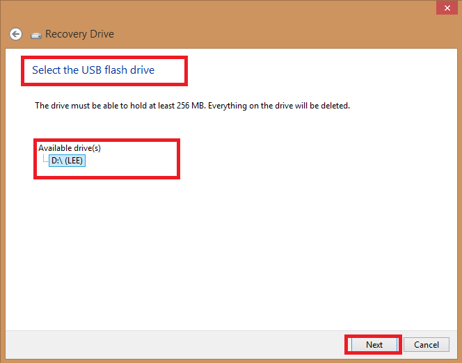 recovery drive-select a USB
