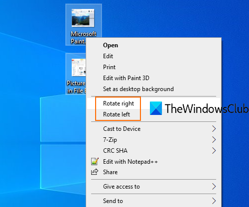 rotate an image in windows 10 using right-click context menu