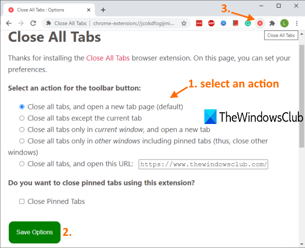 select an action of Close All Tabs chrome extension and use its icon