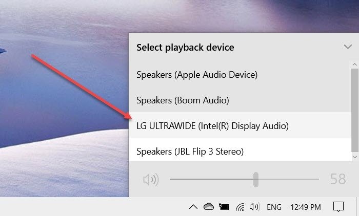 HDMI playback device not showing in Windows 10
