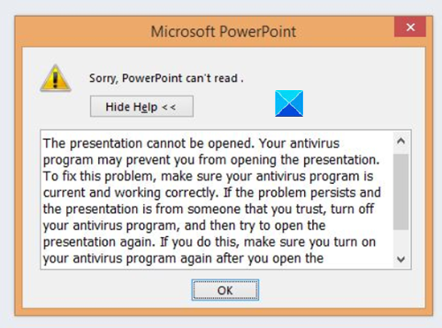 Sorry PowerPoint Can't Read